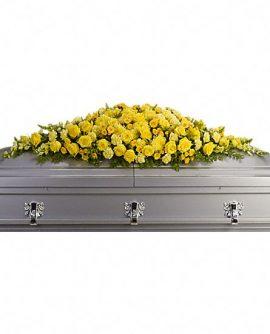 Image of Flowers or flower product titled Golden Garden Casket Spray