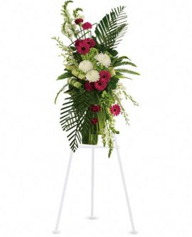 Image of Flowers or flower product titled Gerberas and Palms Spray