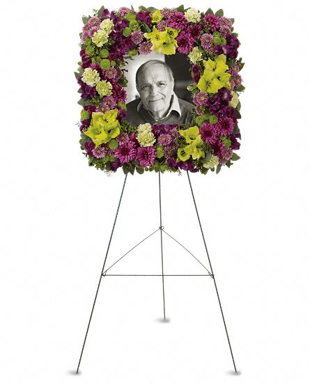 Image of Flowers or flower product titled Mosaic of Memories Square Easel Wreath