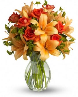 Image of Flowers or flower product titled Fiery Lily and Rose
