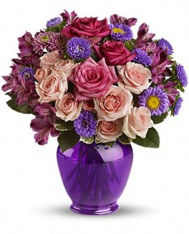 Image of Flowers or flower product titled Purple Medley Bouquet with Roses